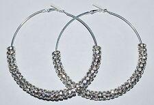 3.5'' Large Hoop Rhinestone Silver Earrings Basketball Wives 8mm Rondelles E34A