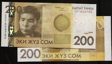 Kyrgyzstan , P27 p 27 , 200 Som,2010,Unc