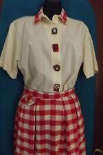 VTG Baseball Skirt Plaid Red White Shirt Buttons Earrings Carolyn Rothwell Small