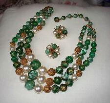 LISNER Vintage Green/White/Gold Bead Necklace & Earring Set