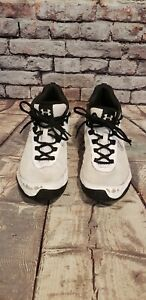 Under Armour Youth Basketball White Black Lace Up Mid Top Shoes Youth 6Y