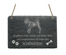 Schiefertafel « SHAR-PEI - SCHÖNSTER HUND » Spruch Hunde Dekoration Deko Wand