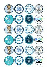 24 x ITS A BOY BABY SHOWER Wafer Rice Paper Cupcake Toppers EDIBLE CAKE - CUTE!