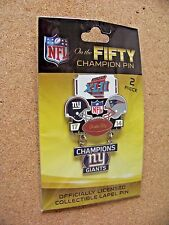 Super Bowl 42 XLII On the Fifty Champion pin dangle dangling NY Giants Patriots