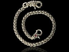 silver rose link dragon wallet chain with rubies