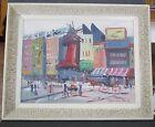 "Original Framed Oil Painting Paris Moulin Rouge Urban Street Art Canvas 12""x16"""