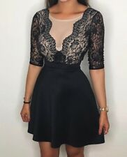 BNWT Lipsy Lace Skater Dress 8 Black Nude Plunge 3/4 Sleeve Party Xmas Gift Her