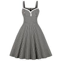 Vintage Retro Pinup Girl Swing Checks Dress Lace Trim Womens Party Rockabilly