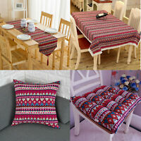 Boho Tablecloth Red Vintage Lace Dining Table Runner Cloth Cover Kitchen Decor