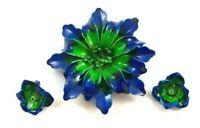 Vintage Blue and Green Enamel Flower Brooch Clip Earrings Set