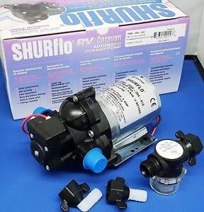 SHURFLO Trailking 20psi 12v & Shurflo Wing Nut Filter   Caravan / Motorhome