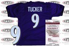 Justin Tucker Signed Purple Custom Pro Style Jersey JSA Witnessed