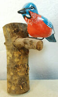 """Vintage Carved Folk Art Red Breasted Blue Bird On Branch 6"""" Wide 8"""" Tall Signed"""