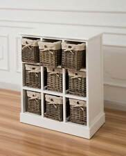 White Nine Drawer Sideboard Cabinet With Grey Wicker Baskets Hallway Wicker Unit