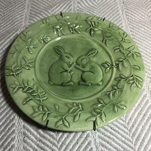 Spring Green Glazed Ceramic Decorative Display Plate Bunny Rabbits