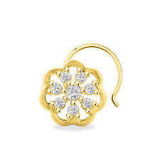 Sterling Silver For Women'S Nose Pin Cluster Round 14K Yellow Gold Finish 925