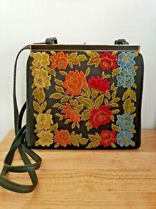 Vintage Chenille Tapestry L and M Spot-lite Exclusive Carpet Bag Purse Handbag