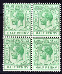 BAHAMAS 1912 KGV SG81 1/2d GREEN MNH BLOCK OF FOUR