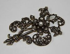 JOY457 ANCIENT BROOCH. 18 K GOLD, SILVER AND DIAMONDS. SPAIN. 19th CENTURY