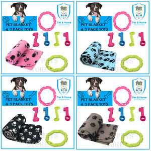 Pet Puppy Cat Kitten Blankets with 3 Rubber Play Pet Toys 4 Colrs Available