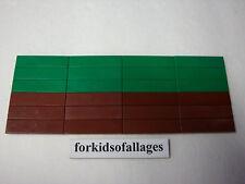 24 Lego 1x4 FINISHING TILES PLATES Smooth Flat Green & Rd-Brown Floor Grass Dirt