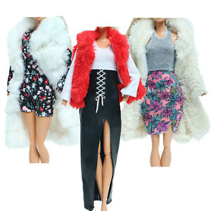 3 Set Outfits Fur Coat Dress Tops Shorts Elegant Clothes for 11.5 Inch Doll Toy