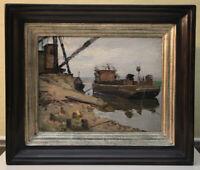 Aleksej A. Dorochow (1927–1987) Ölgemälde Schleppkahn Russland 1953 3.900,- DM?