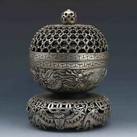 China old Tibet Silver Hand-carved Hollow Dragon Bat Incense Burner