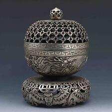 Tibet Silver Hand-carved Dragon Incense Burner zrf
