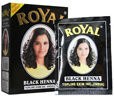 Royal Henna Black Mehndi Powder Hair Dye - 60g | 6 x 10g Sachets |