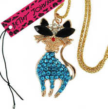 Betsey Johnson cute inlaid Crystal Skirt blue cat pendant necklace