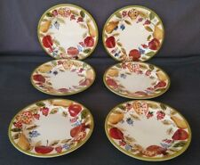 """Vintage Fruit Design Earthenware 8 5/8"""" Dinner Plates Set of 6"""