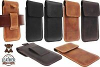 FLAP RIC GENUINE LEATHER WAIST POUCH WITH BELT LOOP CASE COVER FOR MOBILE PHONES