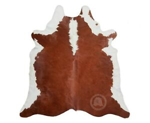 New Brazilian Cowhide Rug Leather HEREFORD BROWN AND WHITE 6'x8' Cow Hide