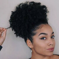 Afro Ponytail Puff Drawstring Wrap Synthetic Short Curly Hair Bun Chignon
