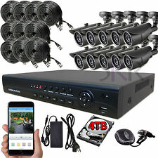 Sikker 16 Ch Channel AHD DVR 10 pcs 1080P 2 Megapixel Camera Security System 4TB