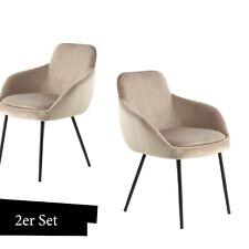 Samt Stuhl Beige Klassisch Modern 2er Set Esszimmer Stühle Wohnzimmer