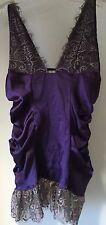 Frederick's Of Hollywood Purple Satin & Eyelash Lace Plunge Neck Chemise Medium