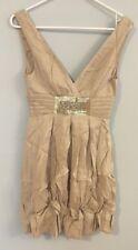 $268 BCBG MAX AZRIA Gold Party Cocktail Dress Size XXS 0 Sequins