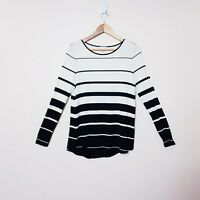 Witchery Size S Small Black White Striped Long Sleeve Top Blouse