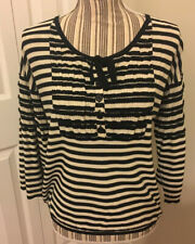 Sonia Rykiel Black White Striped Sweater With Bow 42 Medium