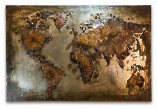 Earth Metallbild 3D Weltkarte Erde Wandrelief - Vintage Metall Bild Unikat 379