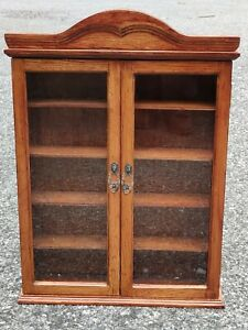"""Wooden Wall Curio Cabinet Display Case 21""""x16"""""""