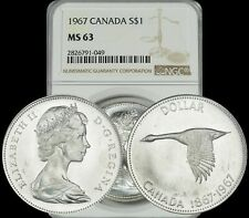 1967 CANADA GOOSE SILVER $1 DOLLAR NGC MS63 GRADED COIN IN HIGH GRADE