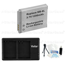 NB-6LH Replacement Battery and USB Dual Charger for Canon D10 D20 S90 S95 SD770