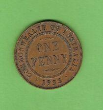 #D310. 1933/32  OVERDATE   AUSTRALIAN BRONZE PENNY COIN