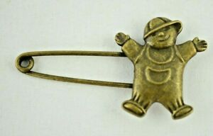 """Vintage - Little Boy with Cap - Shawl or Diaper Safety Pin 2.25"""""""