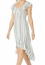 Almost Famous Dress White Size Medium M Junior A-Line High Low Stripe $39 #239