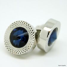 Beautiful Silver Round Luxury Cufflinks With Bright Blue Crystal