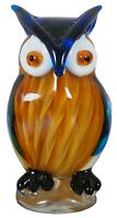 Vintage Hand Blown Studio Art Glass Great Horned Owl Paperweight Murano Figurine